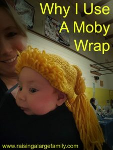 It took 11 babies before I started using The Moby. I saw a lot of other mothers using this wrap but I'm pretty cheap. I don't like to spend money on things I don't need or if I can use something I already have then I'd rather do that. Therefore, it wasn't until baby #11 before I broke down and bought my first Moby.
